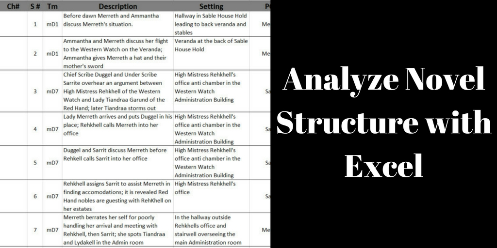 Analyze Novel Structure with Excel, Brant Forseng. @brantforseng