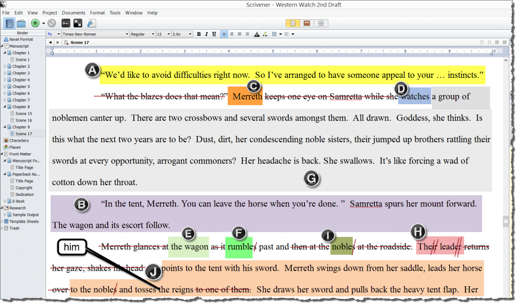 Suggested edits illustrated with Snagit