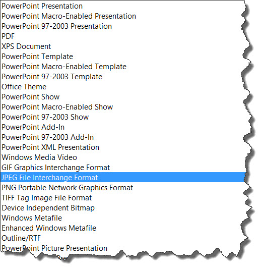 Save file types in PowerPoint