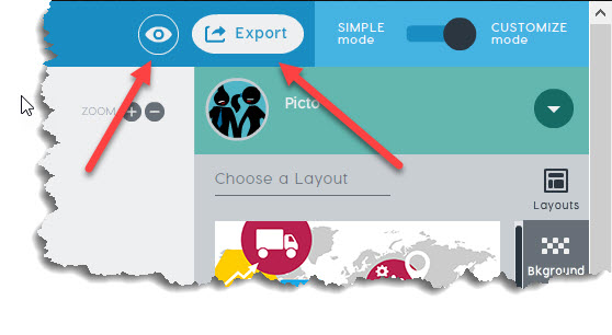 PowToon Preview and Export buttons