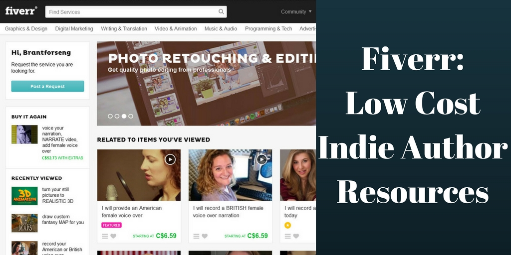 Fiverr: Low Cost Indie Author Resources, Brant Forseng, @brantforseng