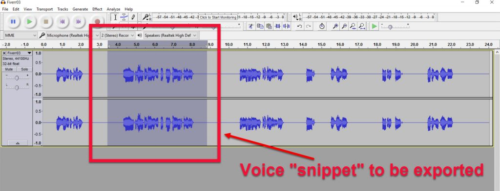Let's Make a Book Trailer Part 18, Audacity selection, Brant Forseng, @brantforseng
